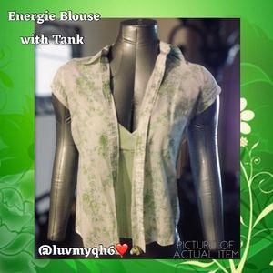 Green Floral Blouse w/Tank